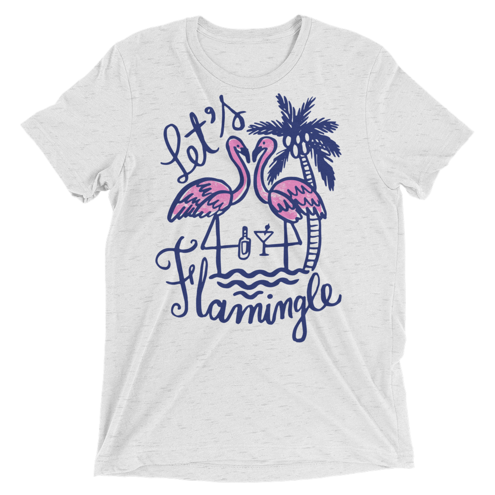 Vegan T-Shirt - Let's Flamingle - White Fleck