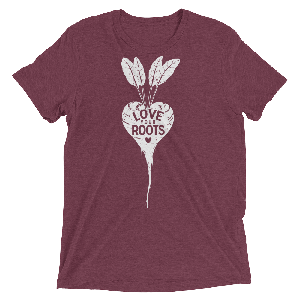 Vegan T-Shirt - Love Your Roots - Maroon