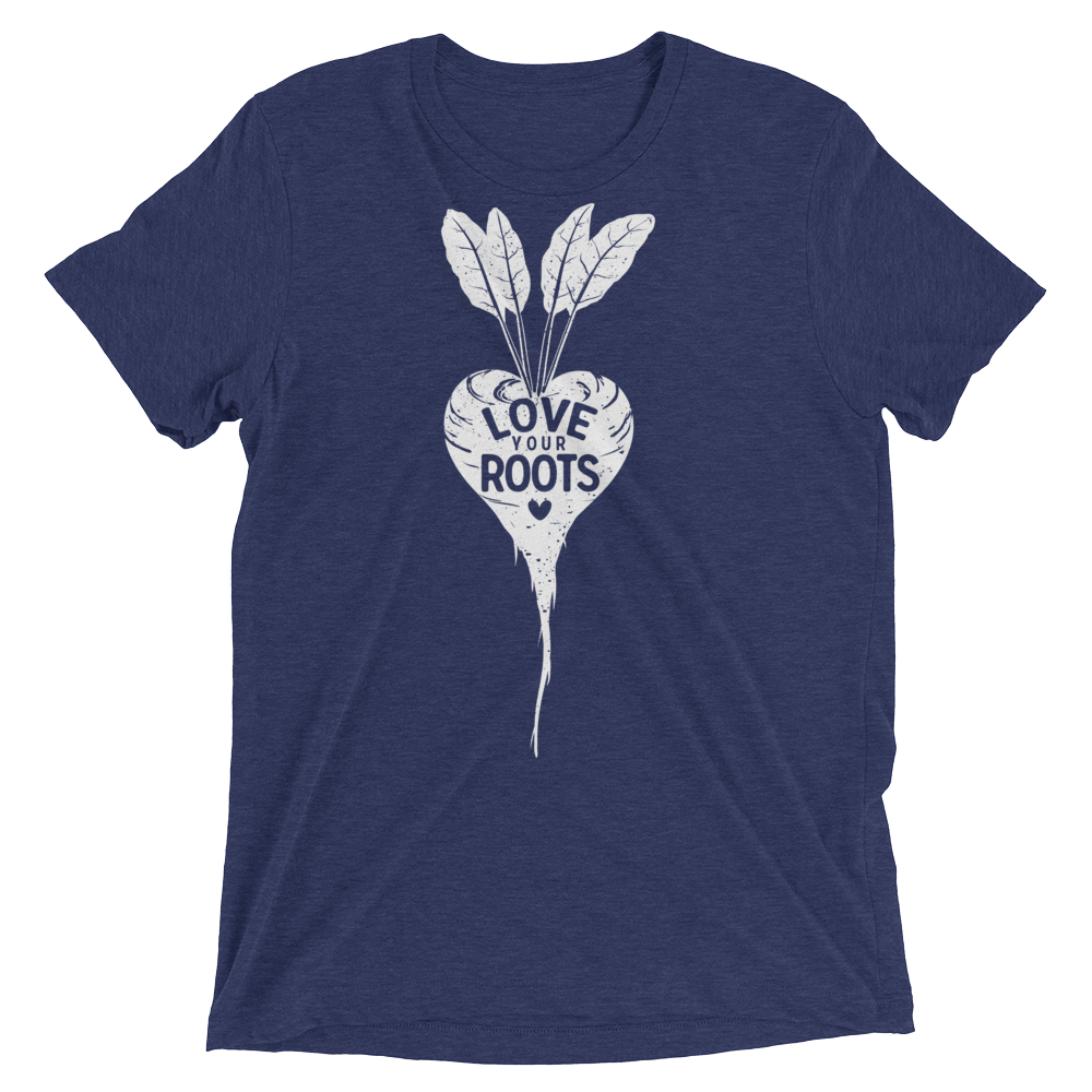 Vegan T-Shirt - Love Your Roots - Navy