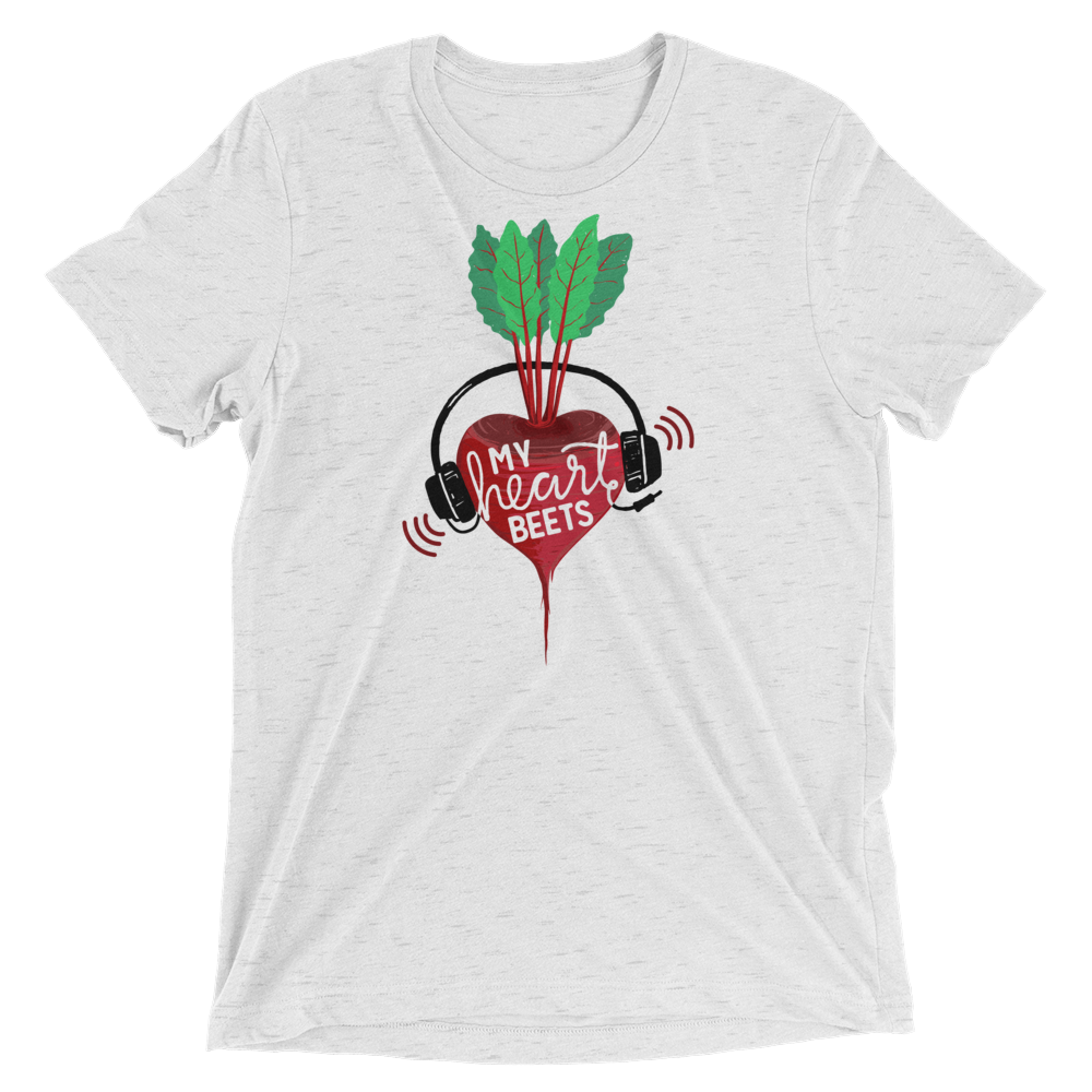 Vegan T-Shirt - My Heart Beets - White Fleck