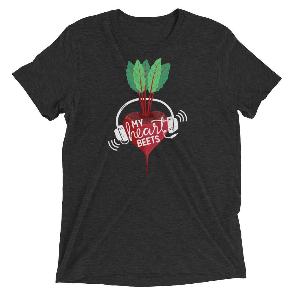 Vegan T-Shirt - My Heart Beets - Charcoal Black
