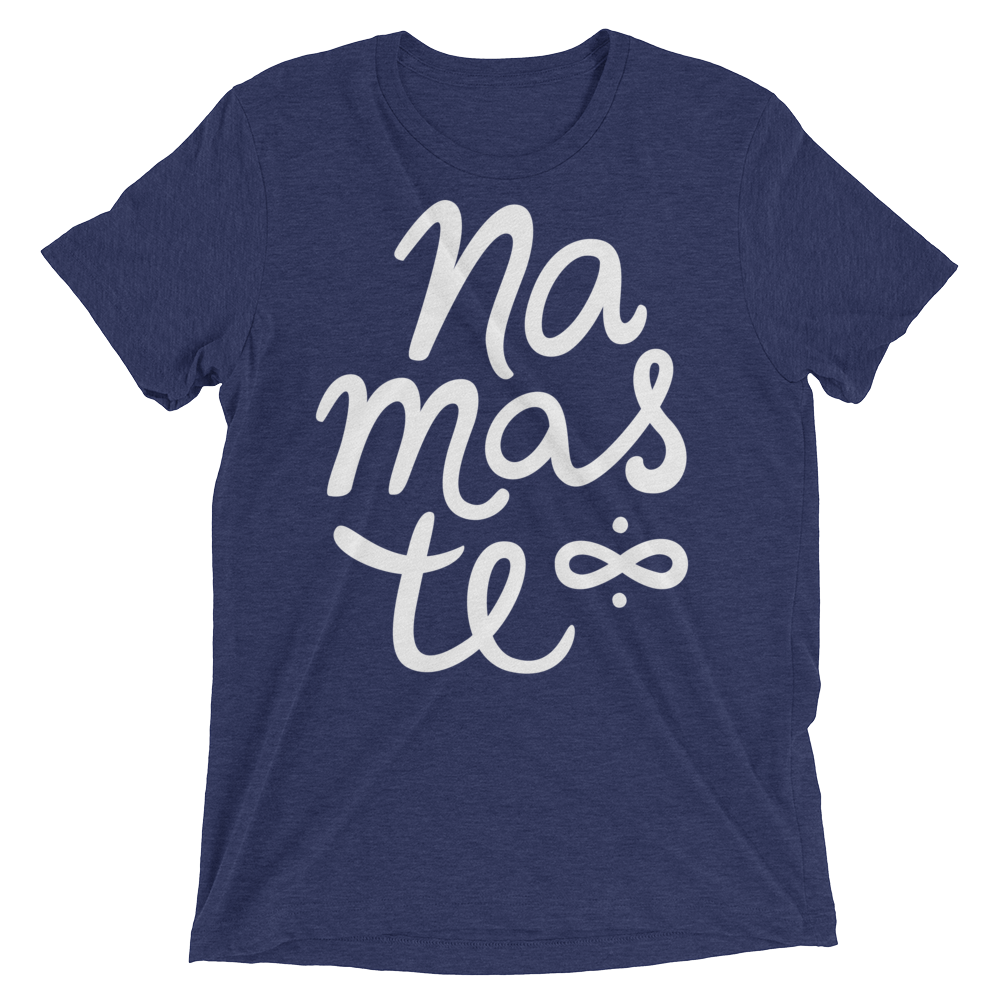 Vegan Yoga Shirt - Namaste - Navy