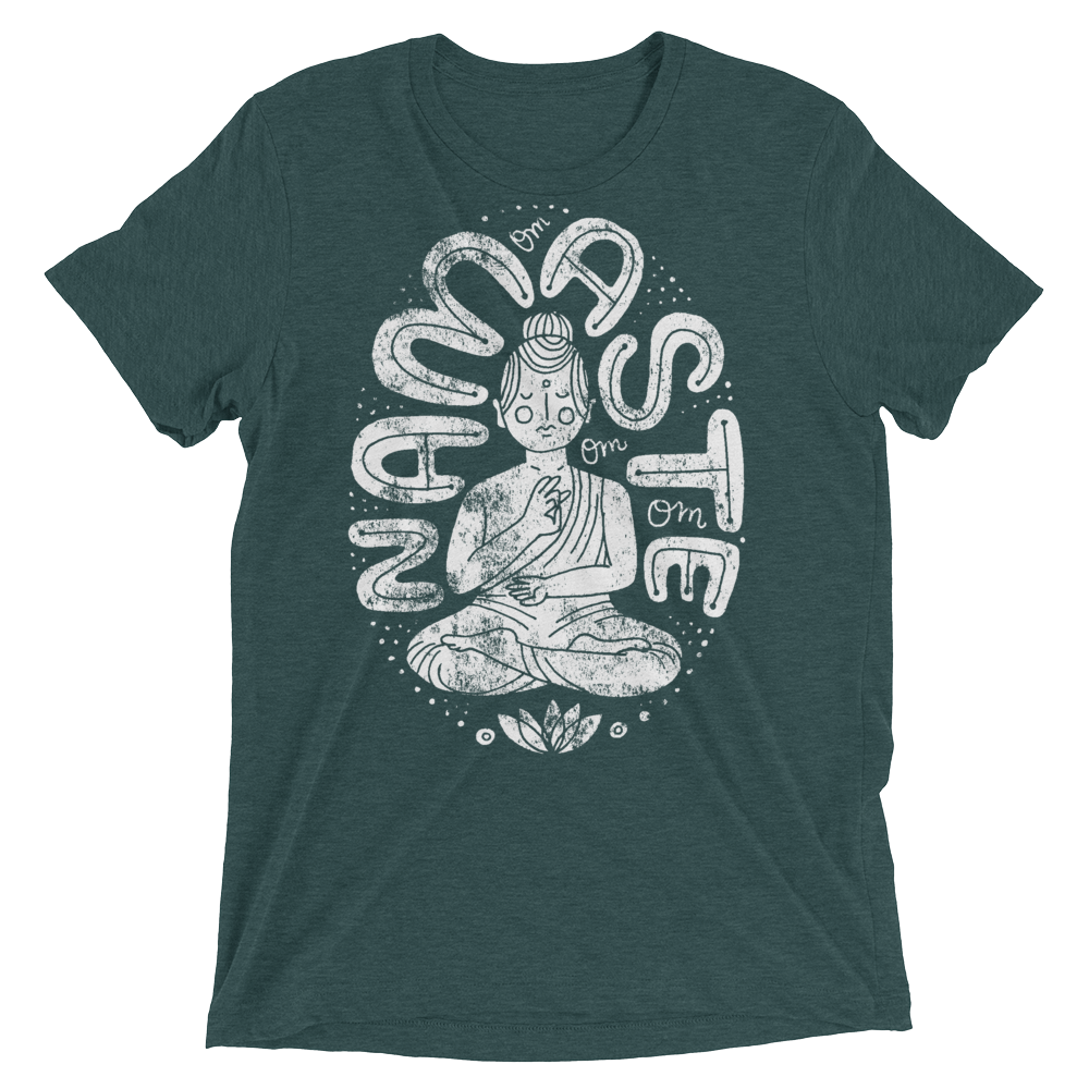 Vegan Yoga Shirt - Namaste Buda - Emerald