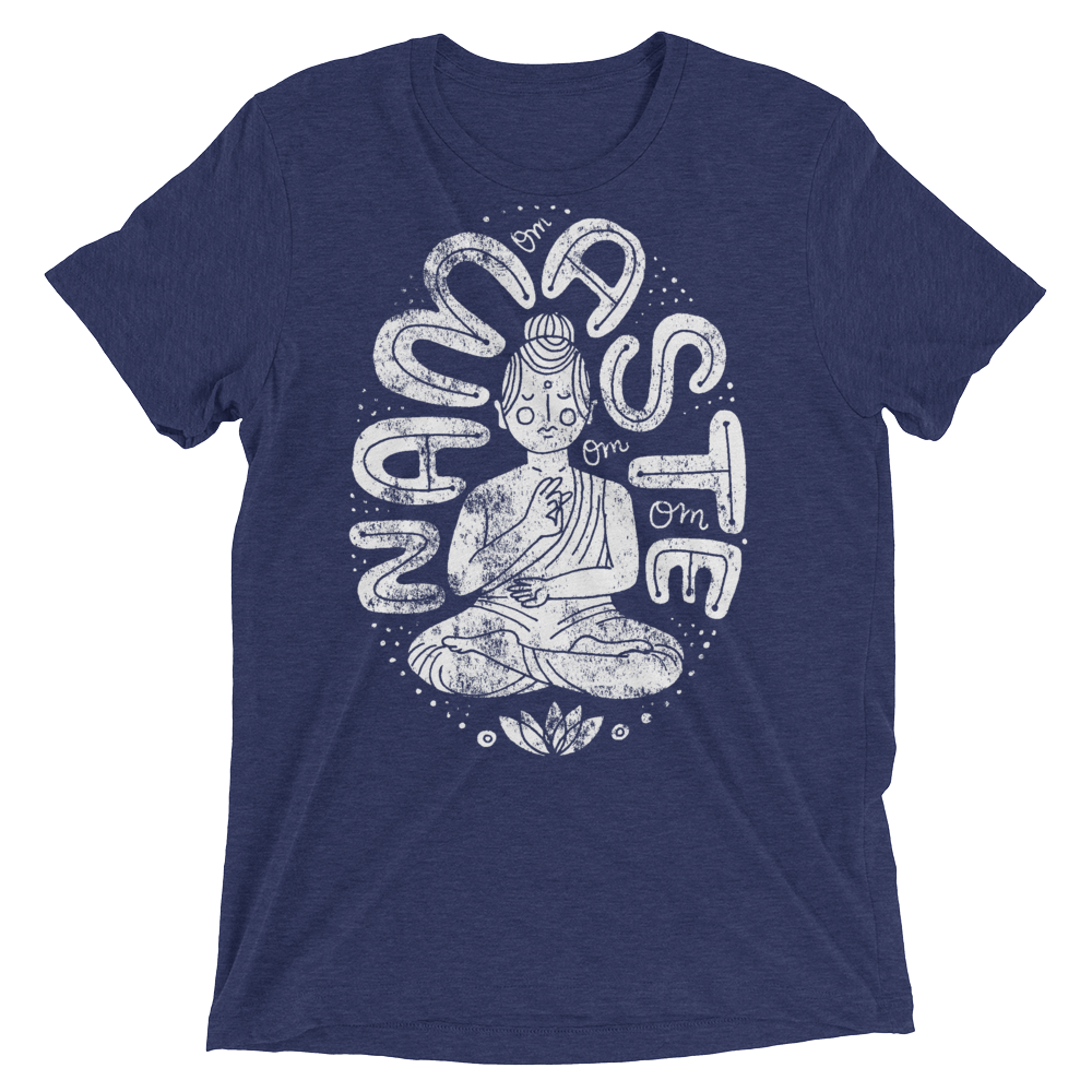 Vegan Yoga Shirt - Namaste Buda - Navy