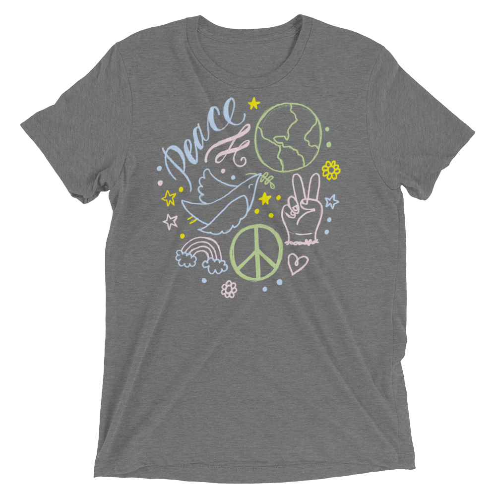 Vegan T-Shirt - Peace In The World - Grey