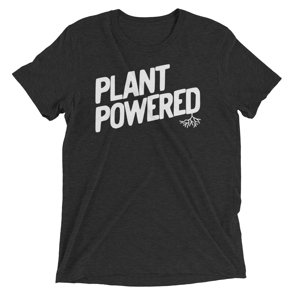 Vegan T-Shirt - Plant Powered Shirt - Charcoal Black