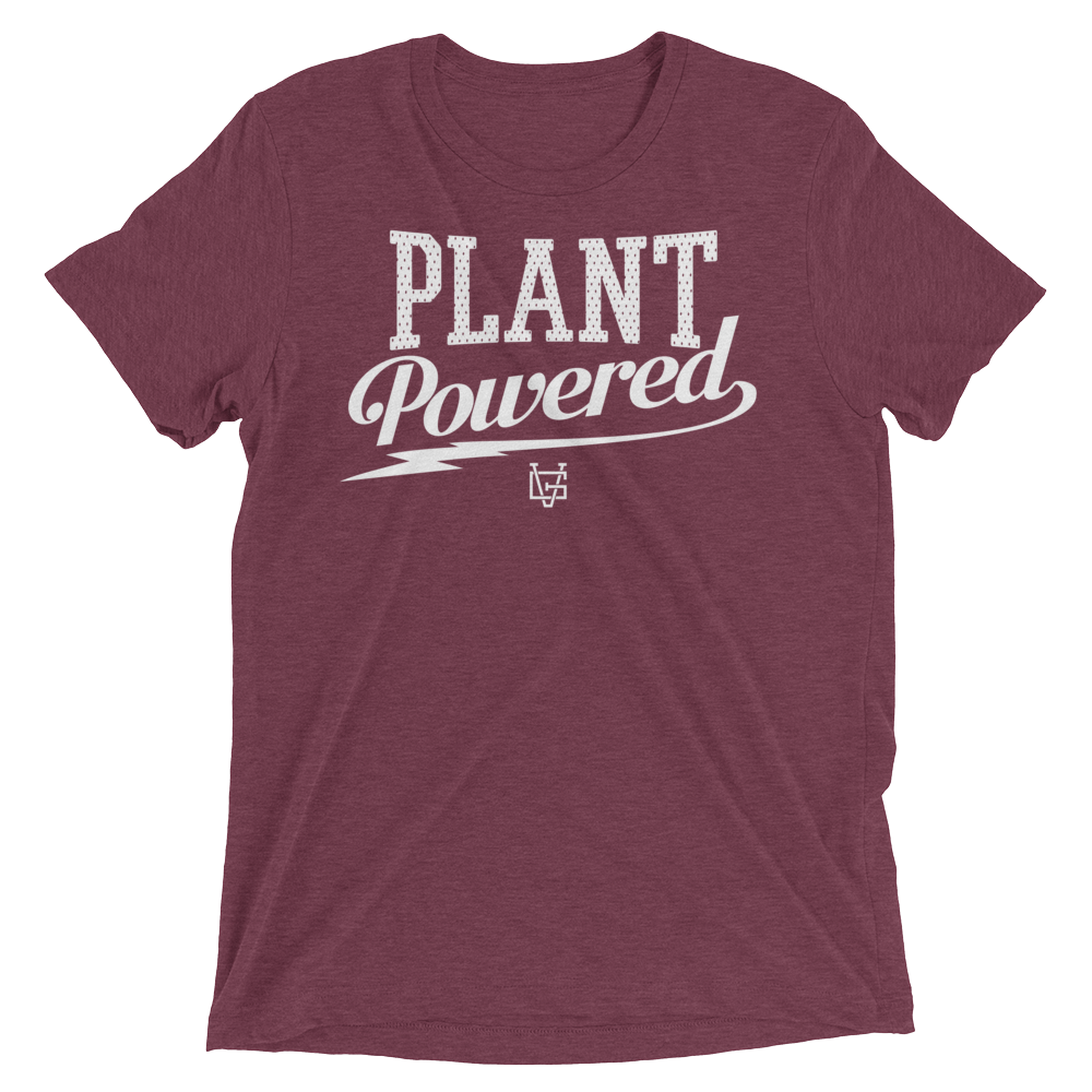 Vegan T-Shirt - Plant Powered Thunder - Maroon
