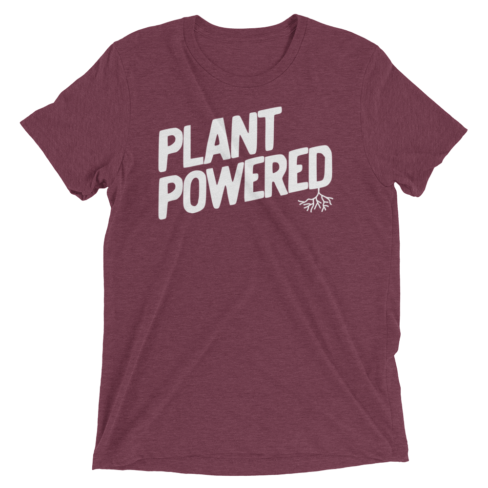 Vegan T-Shirt - Plant Powered Shirt - Maroon