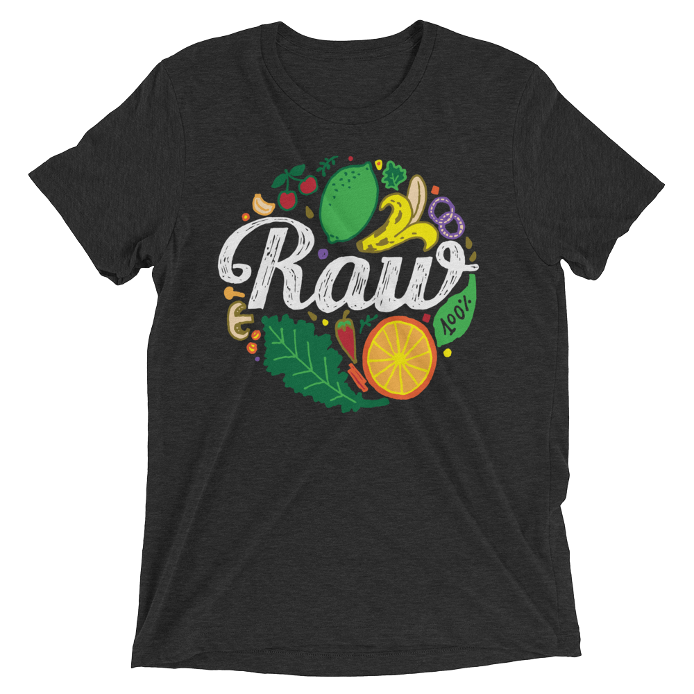 Vegan T-Shirt - 100% Raw Shirt - Charcoal Black