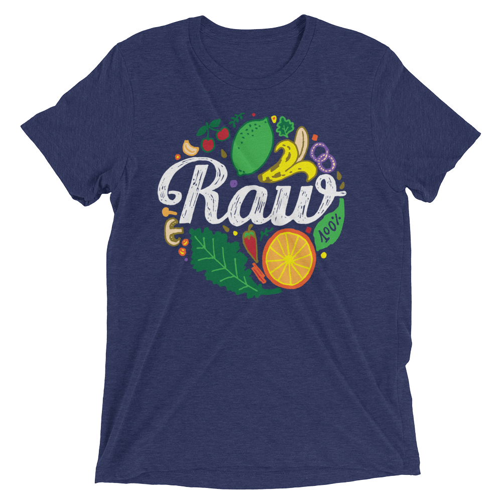 Vegan T-Shirt - 100% Raw Shirt - Navy