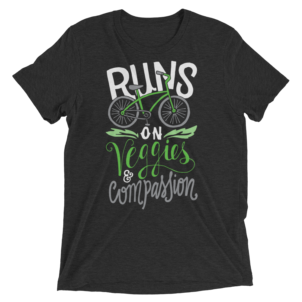 Vegan T-Shirt - Runs on veggies and compassion shirt - Charcoal Black