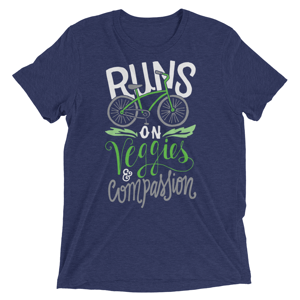 Vegan T-Shirt - Runs on veggies and compassion shirt - Navy