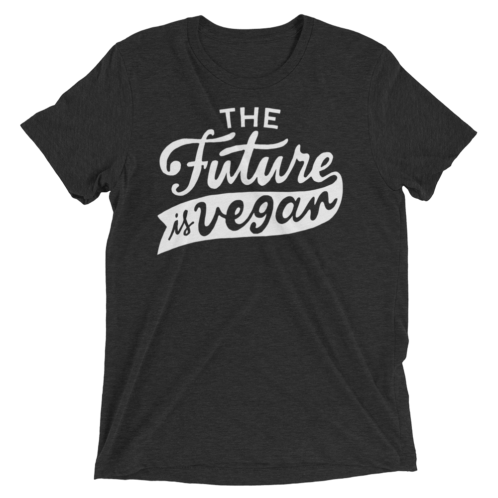 Vegan T-Shirt - The future is vegan shirt - Charcoal Black