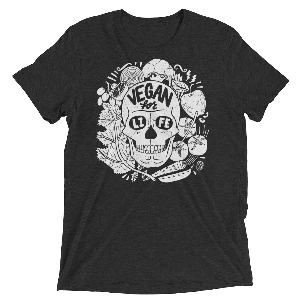Vegan T-Shirt - Vegan For Life Skull - Charcoal Black