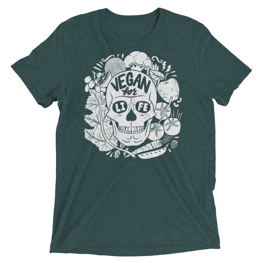Vegan T-Shirt - Vegan For Life Skull - Emerald