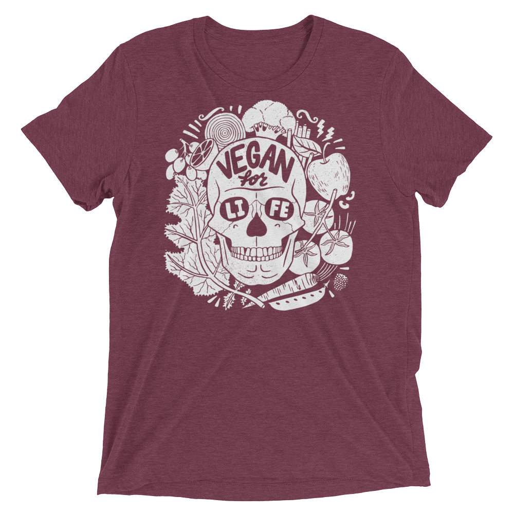 Vegan T-Shirt - Vegan For Life Skull - Maroon