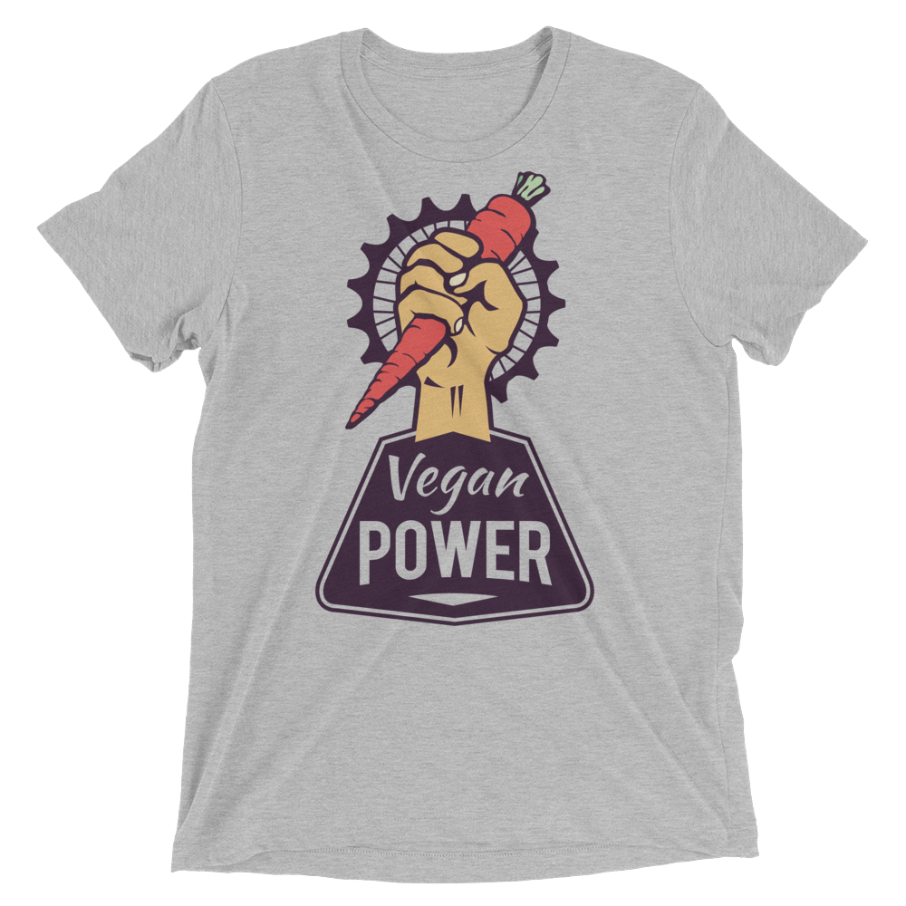 Vegan T-Shirt - Vegan Power - Athletic Grey