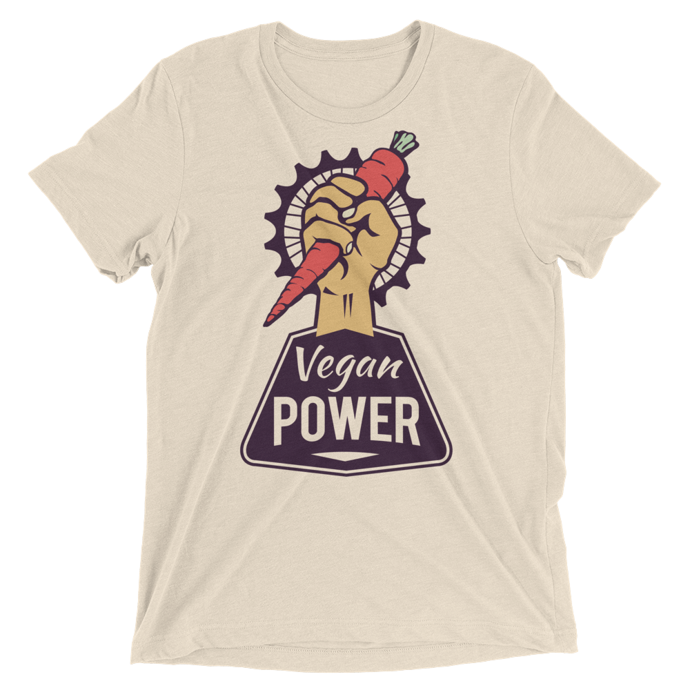 Vegan T-Shirt - Vegan Power - Oatmeal