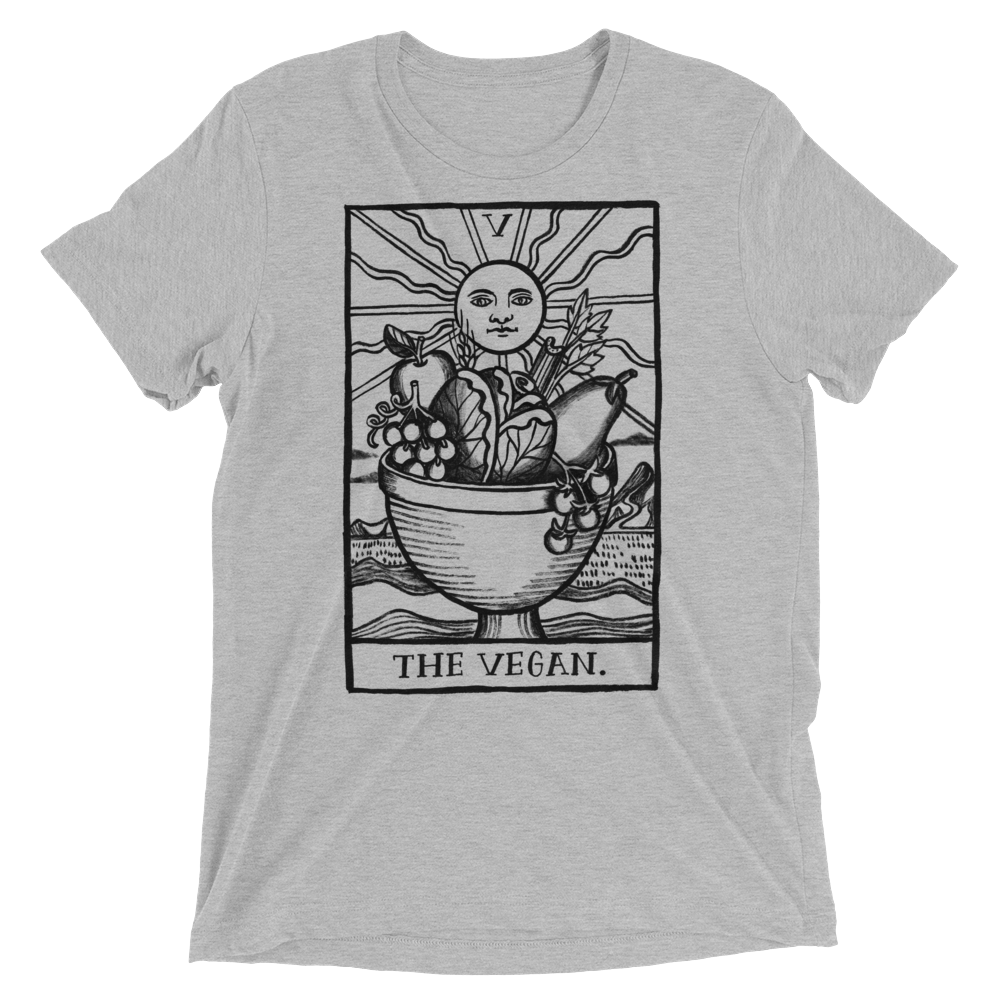 Vegan T-Shirt - Vegan Tarot - Athletic Grey
