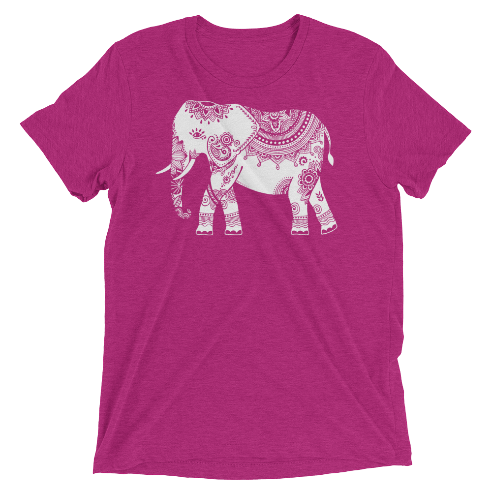 Vegan Yoga Shirt - White Elephant - Berry