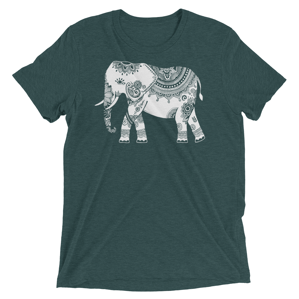 Vegan Yoga Shirt - White Elephant - Emerald