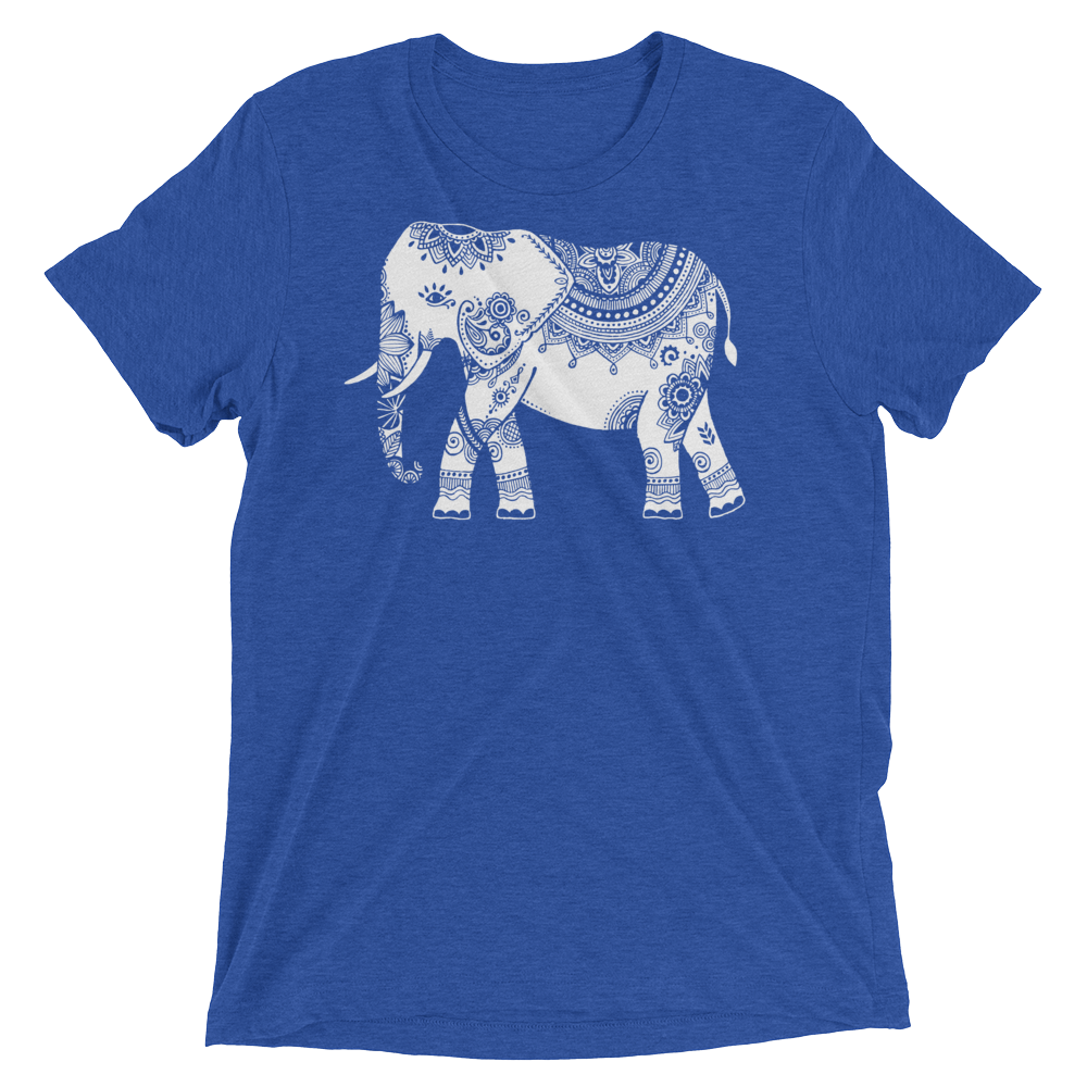 Vegan Yoga Shirt - White Elephant - True Royal