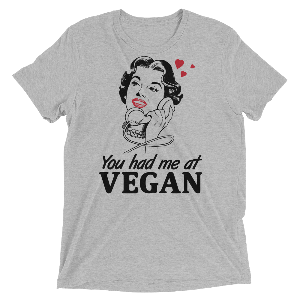 Vegan T-Shirt - You Had Me At Vegan - Athletic Grey