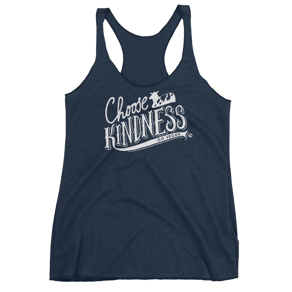 Vegan Tank Top - Choose Kindness - Vintage Navy