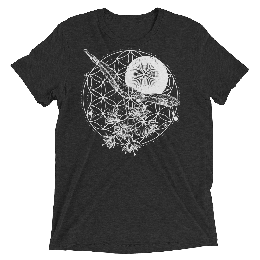 Sacred Geometry Shirt - Flower Of Life - Charcoal Black
