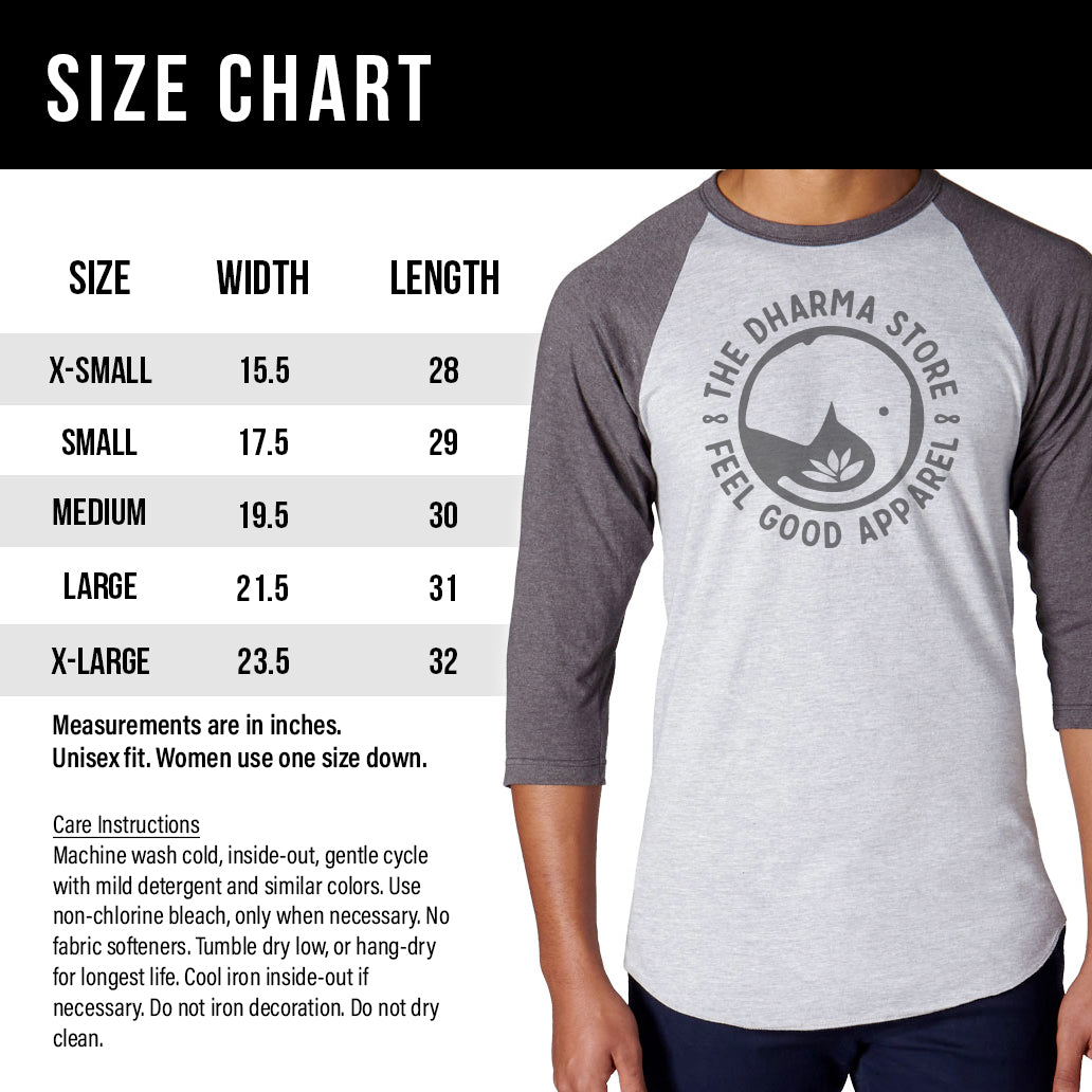 Unisex Vegan Long Sleeve Size Chart