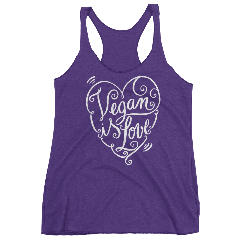 Vegan Tank Top - Vegan is Love Heart - Purple Rush