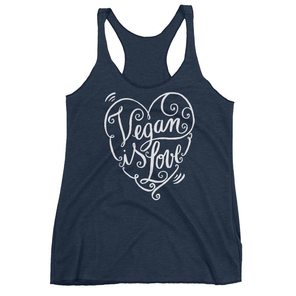 Vegan Tank Top - Vegan is Love Heart - Vintage Navy
