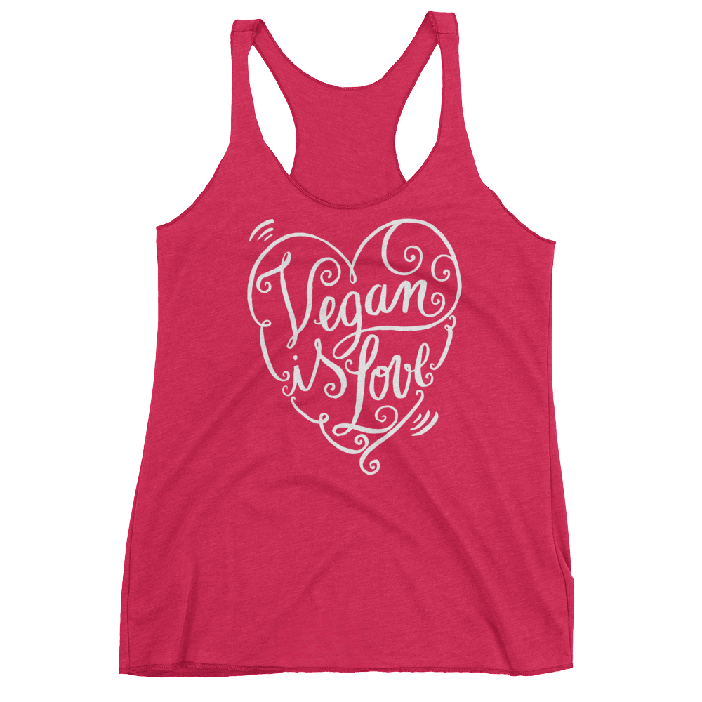 Vegan Tank Top - Vegan is Love Heart - Vintage Shocking Pink