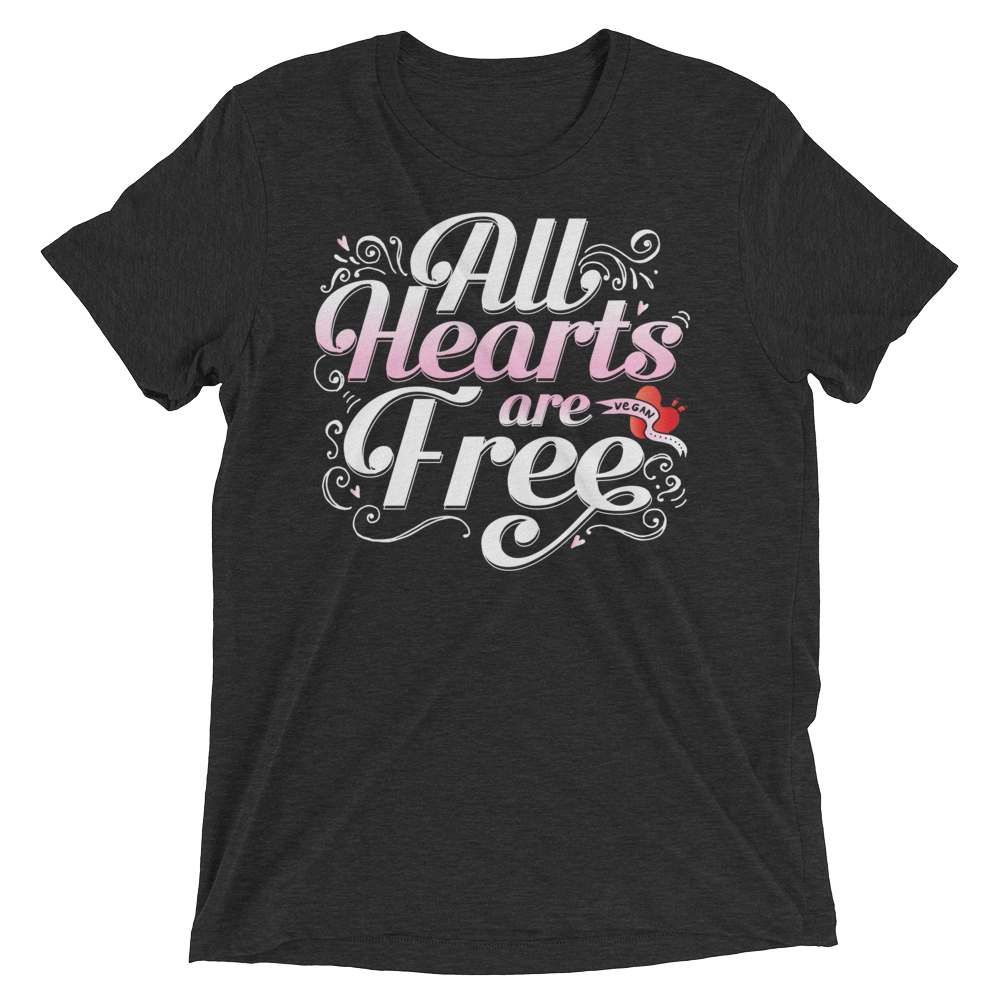 Vegan T-Shirt - All Hearts are Free - Charcoal Black