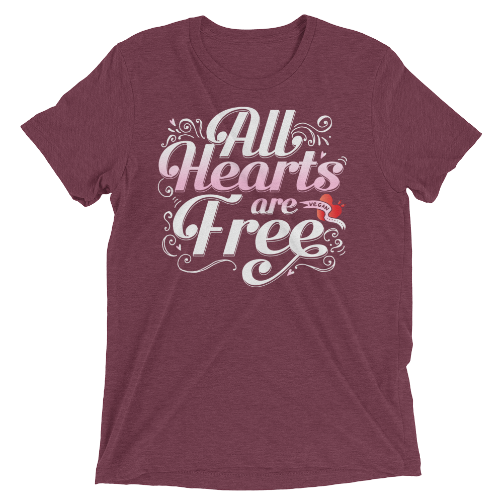 Vegan T-Shirt - All Hearts are Free - Maroon