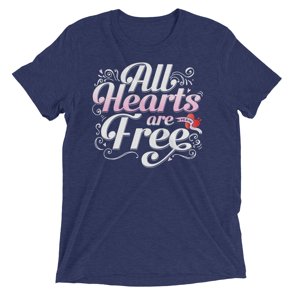Vegan T-Shirt - All Hearts are Free - Navy