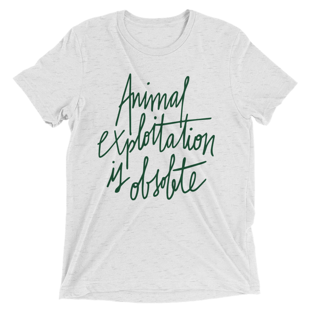 Vegan T-Shirt - Animal Exploitation is Obsolete - White Fleck