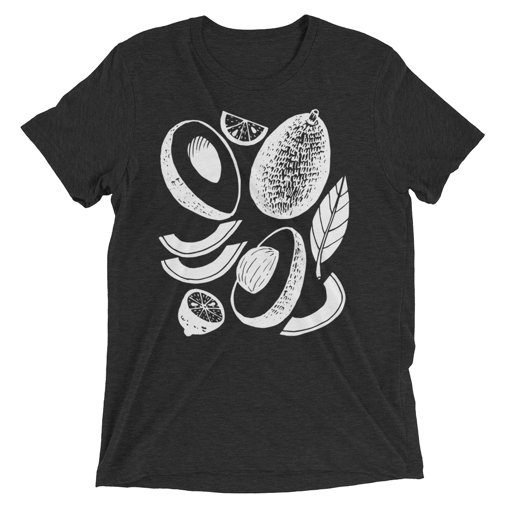 Vegan T-Shirt - Avocados - Charcoal Black