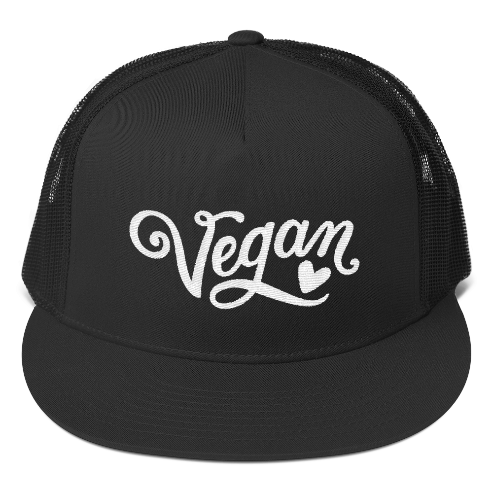 Vegan Trucker Hat - Vegan Heart - Black