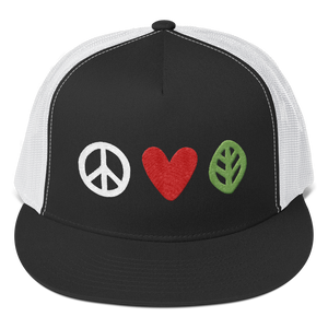 Vegan Trucker Hat - Peace Love Vegan - Black and white