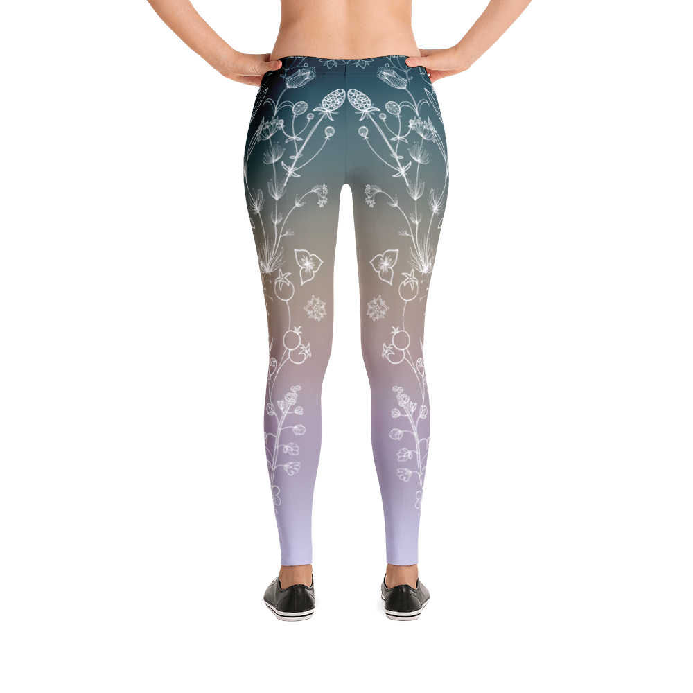 Vegan Leggings - Botanical Purple - Back