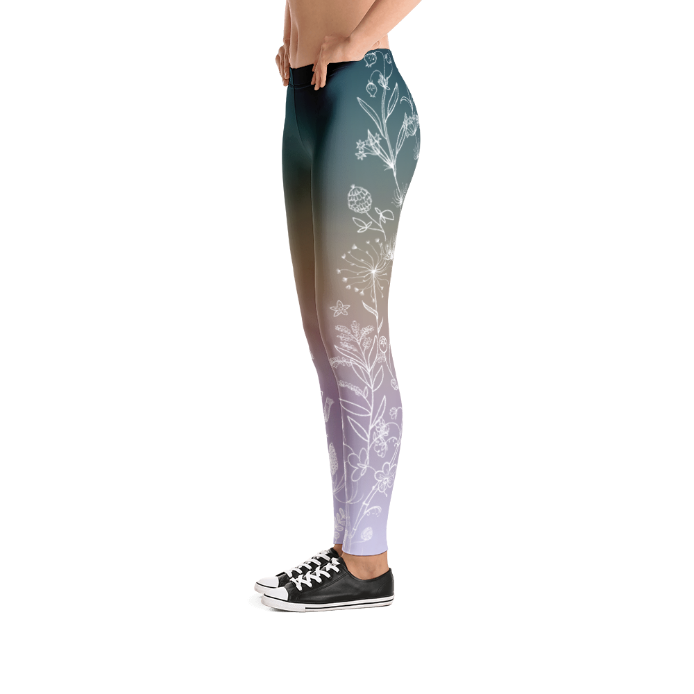 Vegan Leggings - Botanical Purple - Side
