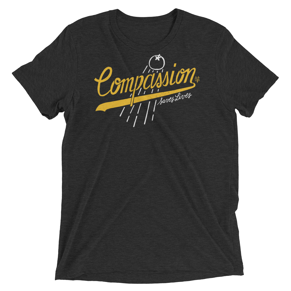 Vegan T-Shirt - Compassion Saves Lives - Charcoal Black