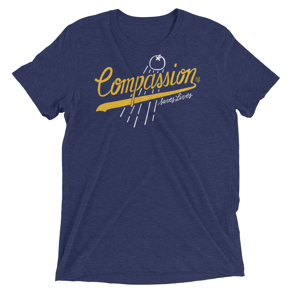 Vegan T-Shirt - Compassion Saves Lives - Navy