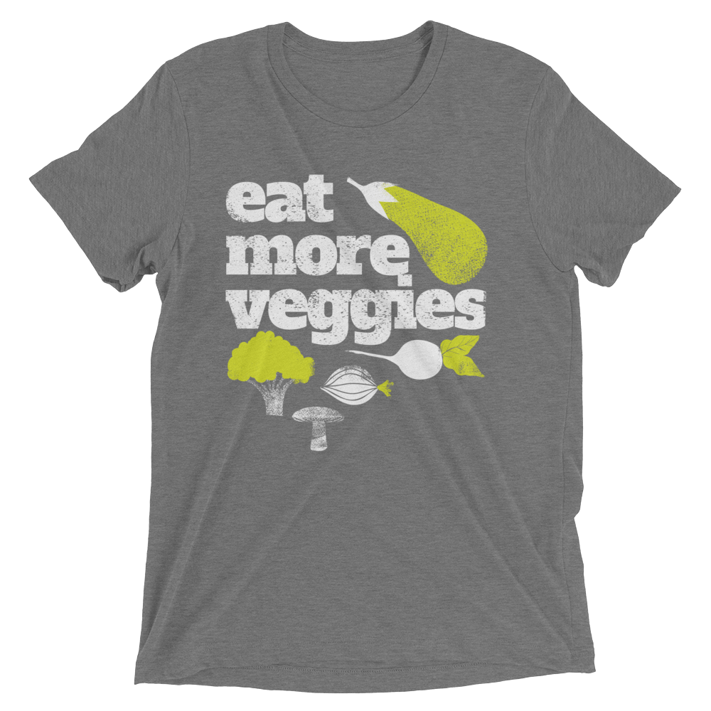 Vegan T-Shirt - Eat More Veggies and Greens - Grey