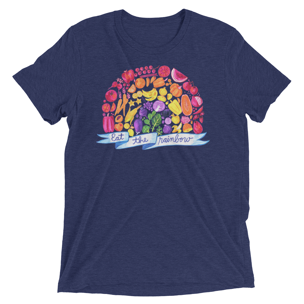 Vegan T-Shirt - Eat The Rainbow - Navy