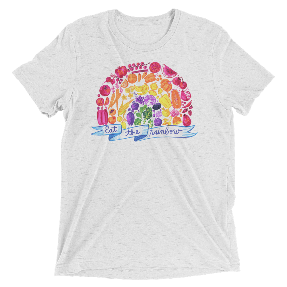 Vegan T-Shirt - Eat The Rainbow - White Fleck