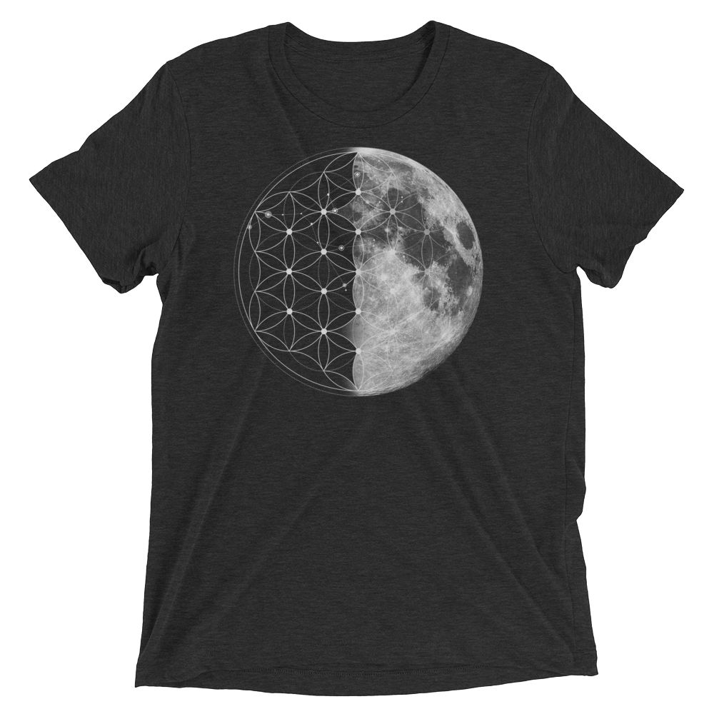 Sacred Geometry Shirt - Flower Of Life Moon - Charcoal Black