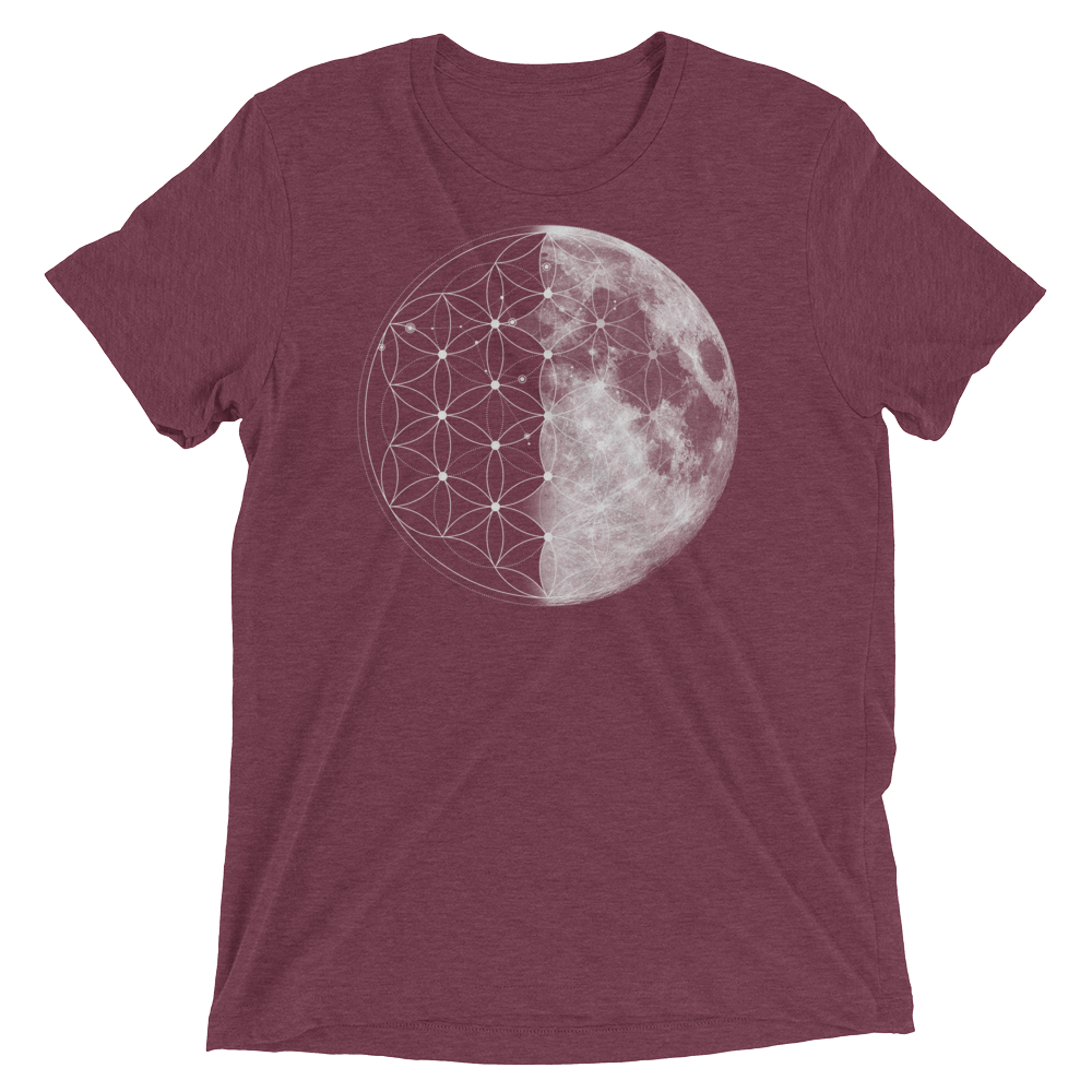 Sacred Geometry Shirt - Flower Of Life Moon - Maroon