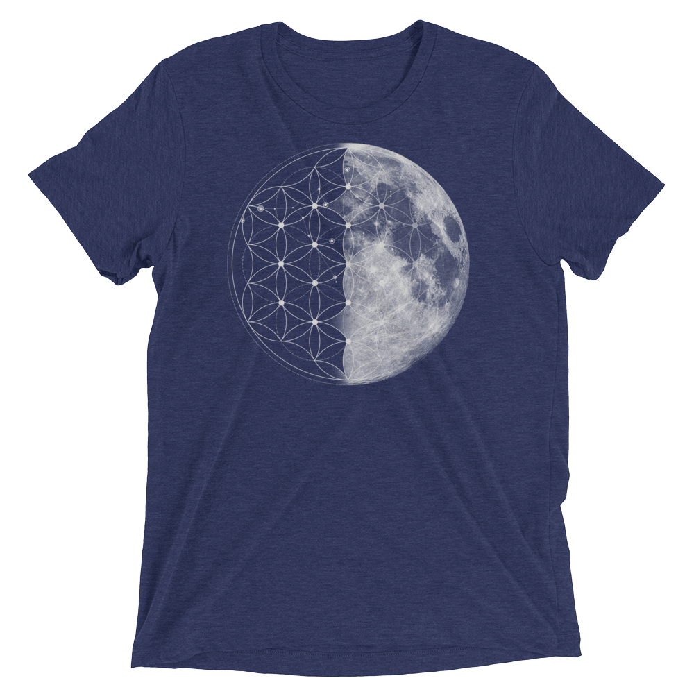 Sacred Geometry Shirt - Flower Of Life Moon - Navy